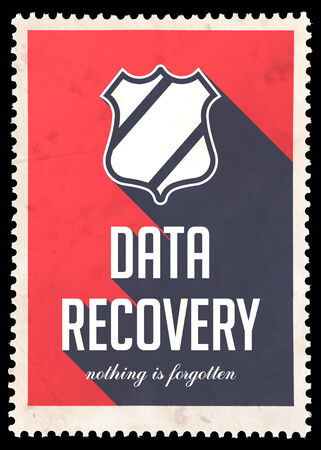 data recovery: Data Recovery on Red Background. Vintage Concept in Flat Design with Long Shadows.