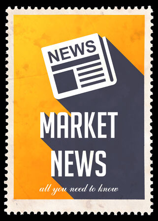 Market News on Yellow Background. Vintage Concept in Flat Design with Long Shadows. photo