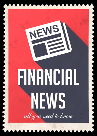 Financial News on Red Background. Vintage Concept in Flat Design with Long Shadows. photo