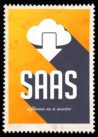 SAAS - Software as a Service - on yellow background. Vintage Concept in Flat Design with Long Shadows. photo