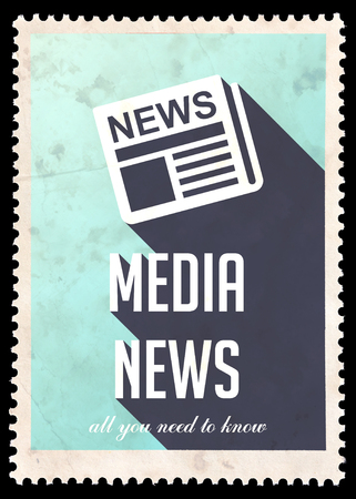 Media News on Light Blue Background. Vintage Concept in Flat Design with Long Shadows. photo