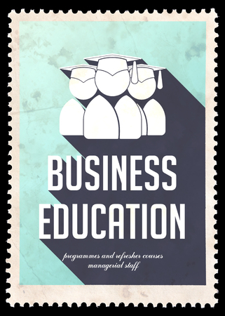 Business Education on Light Blue Background. Vintage Concept in Flat Design with Long Shadows. photo