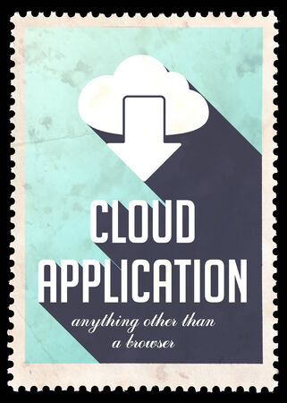 avail: Cloud Application on Light Blue Background. Vintage Concept in Flat Design with Long Shadows.