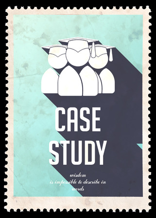 situational: Case Study on Light Blue Background. Vintage Concept in Flat Design with Long Shadows. Stock Photo