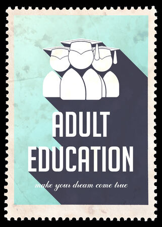 Adult Education on Light Blue Background. Vintage Concept in Flat Design with Long Shadows. photo