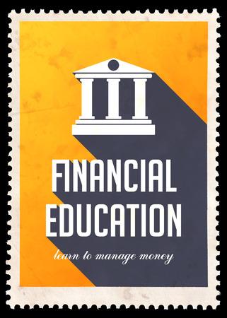 Educación Financiera sobre fondo amarillo. Concepto de la vendimia en Diseño plano con largas sombras.