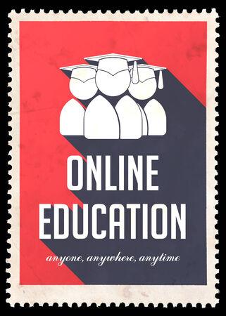 Educación en línea sobre fondo rojo. Concepto de la vendimia en Diseño plano con largas sombras.