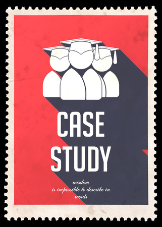 situational: Case Study on Red Background. Vintage Concept in Flat Design with Long Shadows.