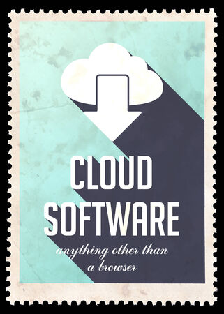 avail: Cloud Software on Light Blue Background. Vintage Concept in Flat Design with Long Shadows. Stock Photo