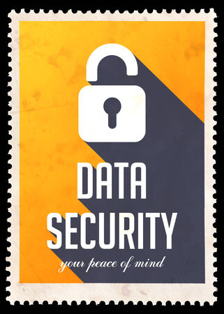safety slogan: Data Security on Yellow Background. Vintage Concept in Flat Design with Long Shadows.