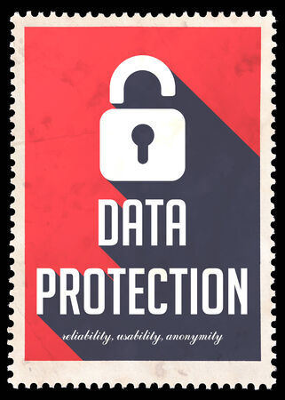 safety slogan: Data Protection on Red Background. Vintage Concept in Flat Design with Long Shadows.