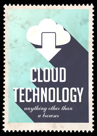 safety slogan: Cloud Technology on Light Blue Background. Vintage Concept in Flat Design with Long Shadows.