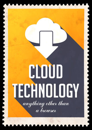 avail: Cloud Technology on Yellow Background. Vintage Concept in Flat Design with Long Shadows.