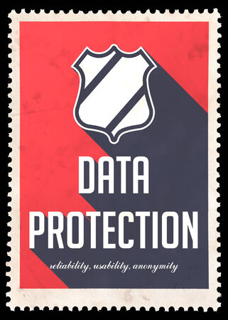 Data Protection Concept on Red Background. Vintage Concept in Flat Design with Long Shadows. photo
