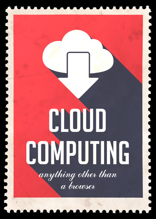 avail: Cloud Computing on Red Background. Vintage Concept in Flat Design with Long Shadows.