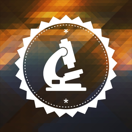 Microscope Icon. Retro label design. Hipster background made of triangles, color flow effect. photo