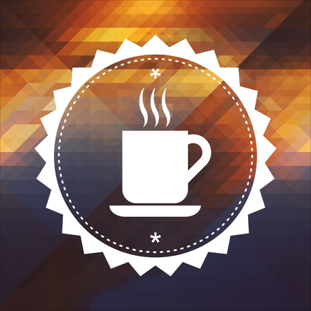 Cup of Coffee Icon. Retro label design. Hipster background made of triangles, color flow effect. photo