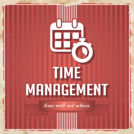 Time Management on Red Striped Background. Vintage Concept in Flat Design. photo