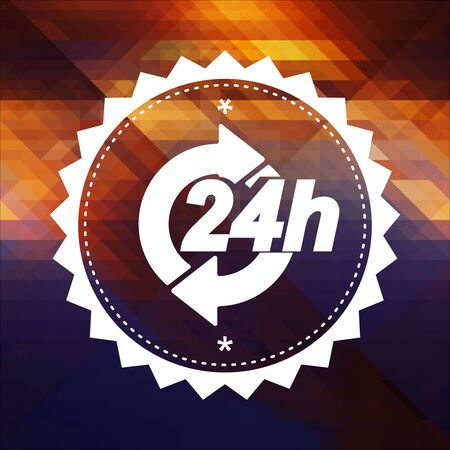 Service 24h Concept. Retro label design. Hipster background made of triangles, color flow effect. photo