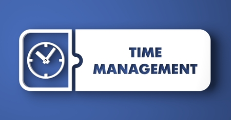 Time Management Concept. White Button on Blue Background in Flat Design Style. photo