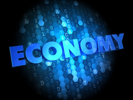 parsimony: Economy - Blue Color Text on Dark Digital Background.