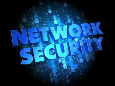 Network Security - Text in Blue Color on Dark Digital Background. photo