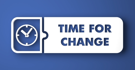 Time for Change Concept. White Button on Blue Background in Flat Design Style. photo