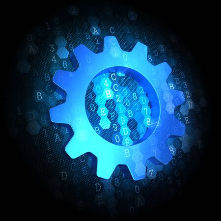 Gear Icon - Text in Blue Color on Dark Digital Background. photo