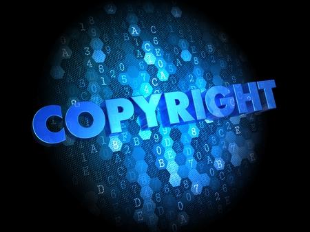 plagiarism: Copyright  - Text in Blue Color on Dark Digital Background.