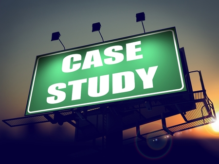 situational: Case Study - Green Billboard on the Rising Sun Background.