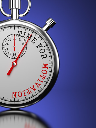 prompting: Time for Motivation - Stopwatch with Time for Motivation slogan on a blue background.