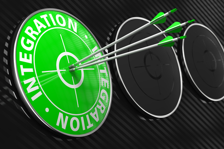 incorporation: Integration - Three Arrows Hitting the Center of Green Target on Black Background.