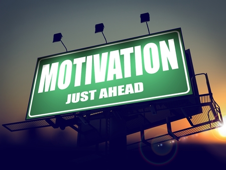 prompting: Motivation - Green Billboard on the Rising Sun Background. Stock Photo