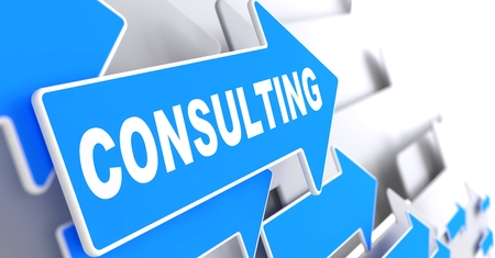 business advice: Consulting - Blue Arrows Indicate the Direction on Gray Background.