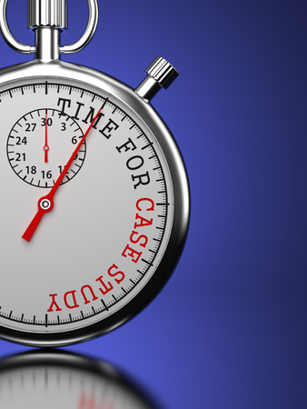 situational: Time for Case Study - Stopwatch with Time for Case Study slogan on a blue background.