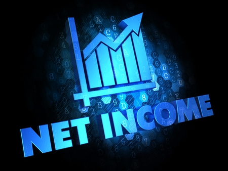 net income: Net Income with Growth Chart Icon - Blue Color Text on Dark Digital Background.