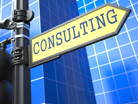 legal services: Consulting on Yellow Roadsign on a blue urban background. Stock Photo