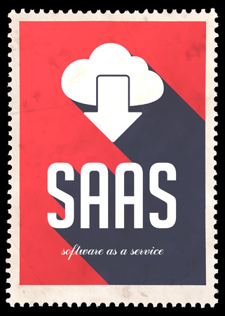 SAAS - Software as a Service - on red background. Vintage Concept in Flat Design with Long Shadows. photo