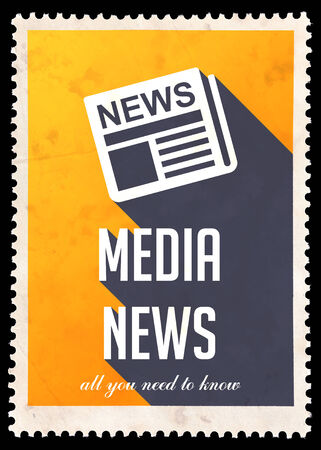 Media News on Yellow Background. Vintage Concept in Flat Design with Long Shadows. photo