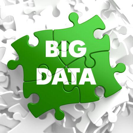 Big Data on Green Puzzle on White Background. photo