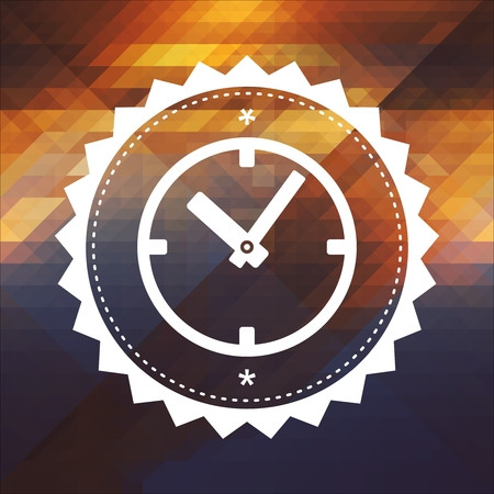 Time Concept - Icon of Clock Face. Retro label design. Hipster background made of triangles, color flow effect. photo