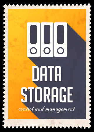 Data Storage on Yellow Background. Vintage Concept in Flat Design with Long Shadows. photo