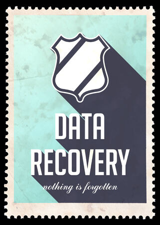 Data Recovery on Blue Background. Vintage Concept in Flat Design with Long Shadows. photo