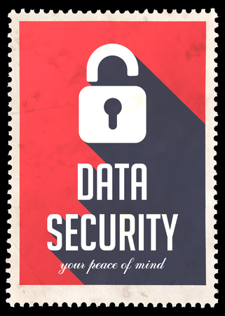 avail: Data Security on Red Background. Vintage Concept in Flat Design with Long Shadows. Stock Photo