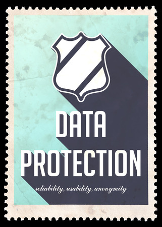 safety slogan: Data Protection Concept on Blue Background. Vintage Concept in Flat Design with Long Shadows. Stock Photo