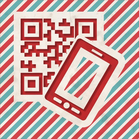 QR Code with Smartphone Icon on Red and Blue Striped Background. Vintage Concept in Flat Design. photo