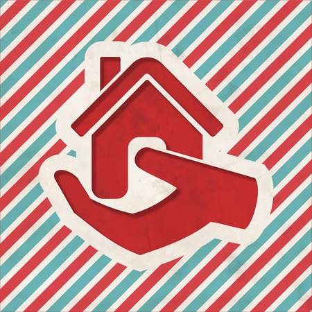 Home in Hand Icon on Red and Blue Striped Background. Vintage Concept in Flat Design. Stock Photo - 26340247