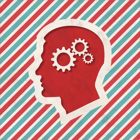 Psychological Concept - Profile of Head with Cogwheel Gear Mechanism - on Red and Blue Striped Background. Vintage Concept in Flat Design. photo