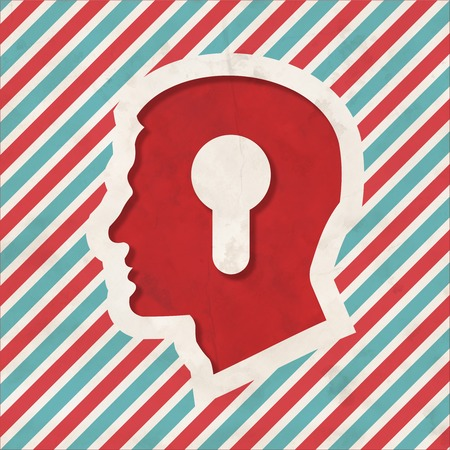 Profile of Head with a Keyhole Icon on Red and Blue Striped Background. Vintage Concept in Flat Design. photo