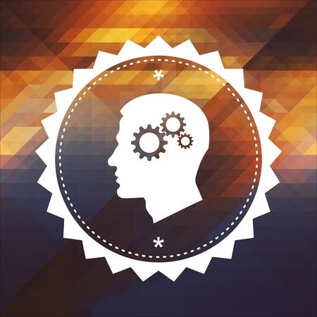 terapia psicologica: Concepto de Psicología - Perfil de la Cabeza con el mecanismo de engranaje de cremallera. Diseño de la etiqueta retro. Hipster fondo de triángulos, color fluir efecto.